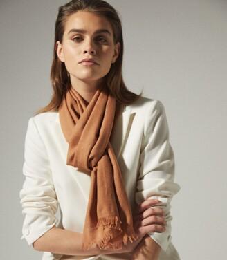 Reiss Iris - Wool Silk Blend Lightweight Scarf in Camel