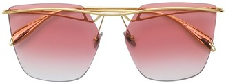 Alexander McQueen Eyewear Curved Aviator Sunglasses