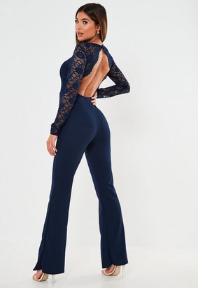 Missguided Lace Open Back Playsuit