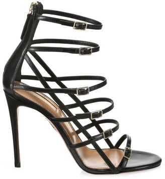 Aquazzura Super Model Cage Leather Sandals