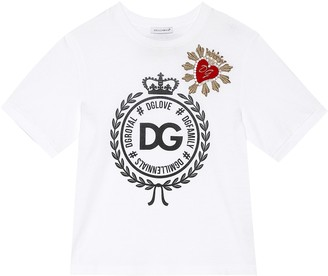 Dolce & Gabbana Embellished Heart cotton T-shirt