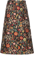 RED Valentino Fancy Flower-jacquard A-line midi skirt