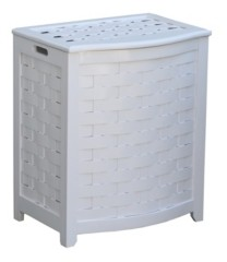 Oceanstar Bowed Front Veneer Laundry Wood Hamper with Interior Bag