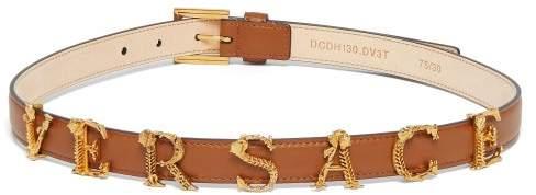 Versace Baroque Logo Slim Leather Belt - Womens - Tan