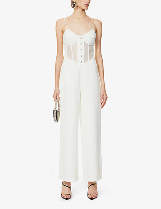 Lavish Alice Semi-sheer front stretch-crepe jumpsuit