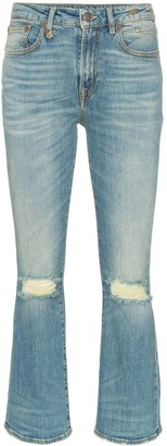 R 13 kick fit ripped knee cotton-blend jeans