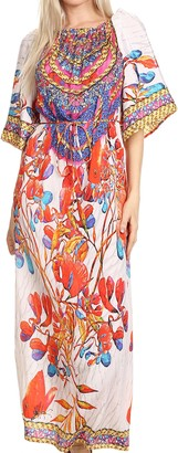 Sakkas P21 - Efiya Long Printed Kaftan Off The Shoulder Ruffled Tie-Waist Maxi Dress - 17036-White/Red - OS