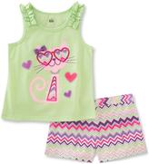 Kids Headquarters Green Cat Tank & Zigzag Shorts - Infant Toddler & Girls