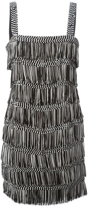 Christian Dior Pre Owned fringed mini dress