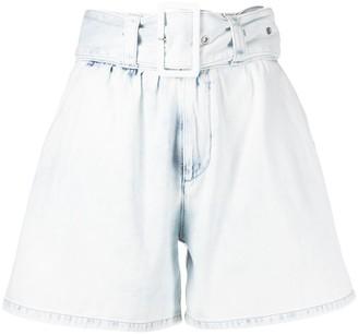 MSGM High Rise Belted Denim Shorts