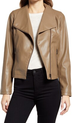 Halogen Drape Collar Faux Leather Jacket