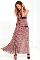 LuLu*s Wide Open Spaces Red Paisley Print Maxi Dress