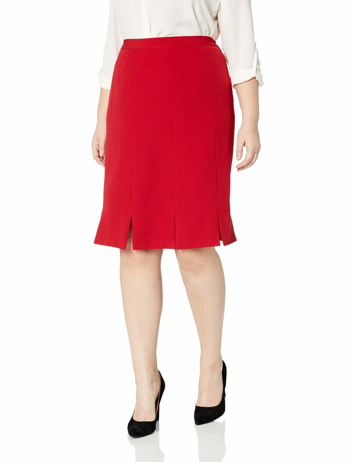 Kasper Women's Petite Pleated Stretch Crepe Skirt