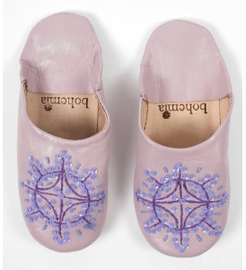 Bohemia Vintage Pink Babouche Sequin Slippers - Small - Pink/Purple