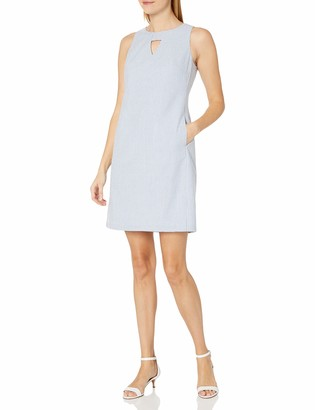Nine West Women's Sleeveless Shift Dress with Pockets and Cutout Neck Detail Navy/White 4