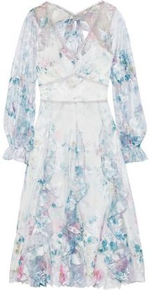 Marchesa Layered Embroidered Tulle And Floral-print Crepe Midi Dress