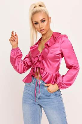 I SAW IT FIRST Coral Satin Ruffle Blouse