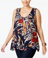 NY Collection Plus Size Printed Inverted-Pleat Top
