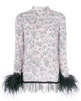Prada rabbit print feather-trim blouse