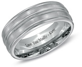 Zales 8.0mm Personalized Comfort Fit Triple Grooved Wedding Band in Cobalt Chrome (46 Characters)
