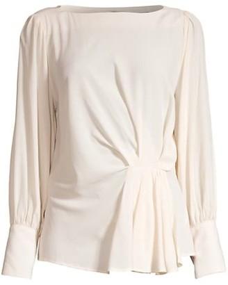 Seventy Crepe Long-Sleeve Draped Blouse