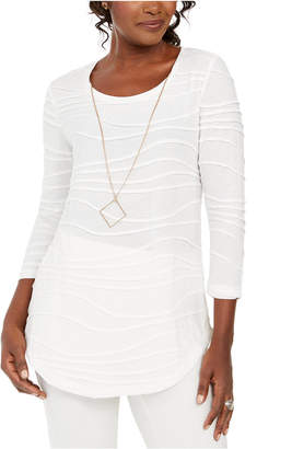 JM Collection Wavy Textured Knit Top