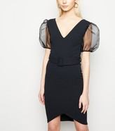 New Look Organza Puff Sleeve Belted Bodycon Dress