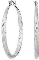 GUESS Twist Hoop Earrings (Silver) Earring