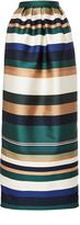 Rosetta Getty Colorblocked Satin Pleated Column Skirt