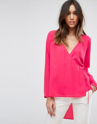 Asos Design Clean Wrap Dip Back Top-Pink