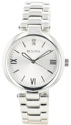 Bulova Women's 96P151 Classic Stainless Diamond Accent Bracelet Watch - Silver-Tone