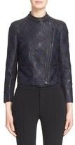 Yigal Azrouel Women's Leather Trim Diamond Print Jacquard Jacket