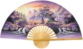 Oriental Furniture Asian Art, Decor and Gifts, 40-Inch Painted Thai Silk and Bamboo Decorative Wall Fan