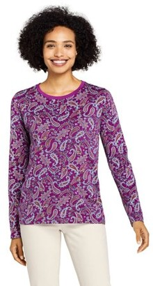 Lands' End Women's Long Sleeve Supima Printed Crewneck T-Shirt