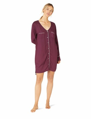 Splendid Women's Long Sleeve Boyfriend Sleepshirt Pajama Dress Pj