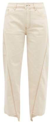 Lanvin Topstitched Cotton Straight Leg Jeans - Womens - Cream