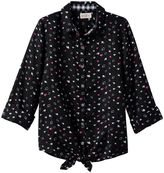 Girls 7-16 & Plus Size SO® Tie-Front Patterned Shirt