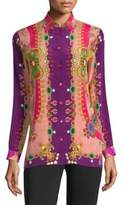 Etro Jewel-Print Silk Blouse