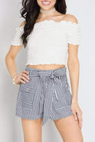 She + Sky Peekaboo Striped Shorts