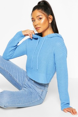 boohoo Knitted Hooded Cropped Sweater