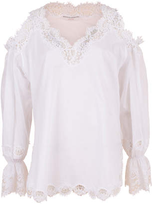 Ermanno Scervino Cold Shoulder Lace Blouse