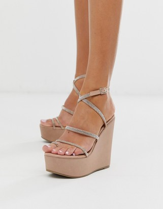 Asos Design DESIGN Tantalize toe loop embellished wedges in nude-Pink