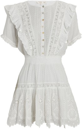 LoveShackFancy Sheldon Eyelet-Trimmed Mini Dress