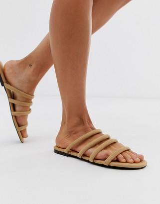 Monki multi strap flat sandal in beige