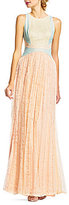 Adrianna Papell Crew Neck Sleeveless Color Block Lace Pleated Gown