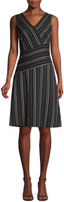 Donna Karan Striped V-Neck Dress