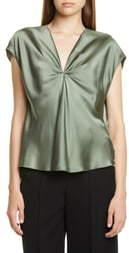 Vince Twist Detail Short Sleeve Silk Blouse