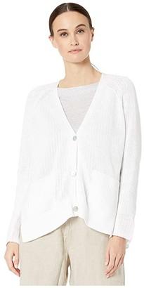 Eileen Fisher Organic Cotton V-Neck Cardigan (White) Women's Clothing
