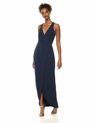 Dress the Population Women's Ariel Sleeveless Plunging Long Gown Wrap Dress