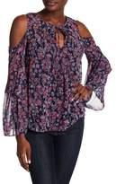 BCBGMAXAZRIA Floral Print Cold Shoulder Flutter Sleeve Blouse